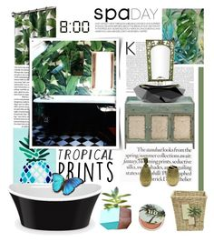 """Tropical Prints"" by lacas ❤ liked on Polyvore featuring interior, interiors, interior design, home, home decor, interior decorating, Matouk, INC International Concepts, Croscill and Dot & Bo"