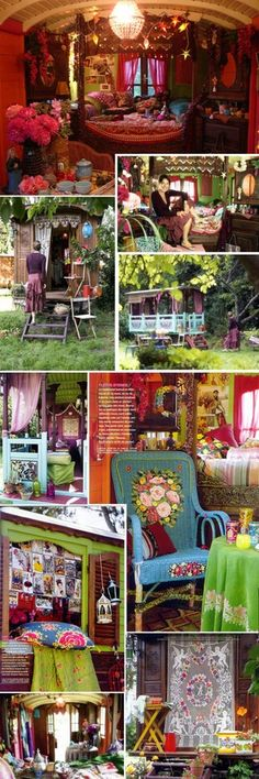 Gysoy boho decor....and elements of shabby chic, and some East Indian color influences. Love.