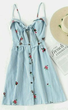 Foldover Stripe Florals Knot Open Front Cami Dress- this dress is so sweet and perfect for summer! Disney Style I Wear to Disney I Disney Outfit I Disney Date Spring Outfits, Trendy Outfits, Cute Outfits, Fashion Outfits, Outfit Summer, Dress Fashion, Modest Fashion, Fashion Styles, Teen Fashion