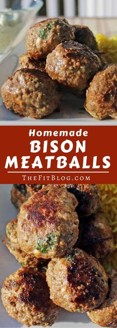 Meatballs These delicious low-carb, high-protein Bison Meatballs with Homemade Tzatziki are packed with Mediterranean flavors inspired by our many trips to Greece. via delicious low-carb, high-protein Bison Meatballs with Homemade Tzatziki Meat Recipes, Paleo Recipes, Dinner Recipes, Cooking Recipes, Paleo Dinner, Buffalo Recipe, Homemade Tzatziki, Clean Eating, Healthy Eating