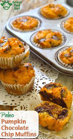 Paleo Pumpkin Bread Muffins with Chocolate Chips | https://www.grassfedgirl.com/paleo-pumpkin-bread-muffins-chocolate-chips/
