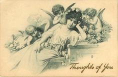 lady reclines, head to right, looking forward, many cupids surround her