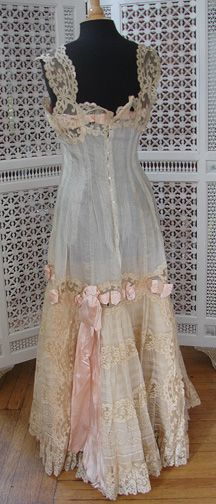 Maria Niforos - Fine Antique Lace, Linens & Textiles : Antique & Vintage Clothing # CL-56 Exquisite Princess Petticoat w/ Valencienne Lace