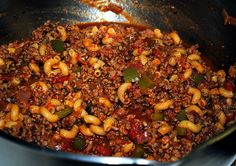 Goulash -- looks better than grandmas lol Pasta Dishes, Food Dishes, Main Dishes, Hot Sausage, Goulash Recipes, Canned Tomato Sauce, Best Dinner Recipes, One Pot Meals, Casseroles