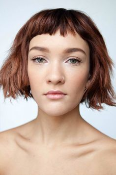 blunt bob with micro bangs - modern gamine