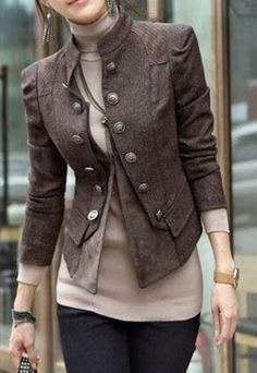 Jacket is awesome, love the color combination of brown and pink, hate turtle necks, but it looks great here. Love this military inspired jacket - Stylish Double Breast Solid Color Jacket Coat - great for fall and early winter Look Fashion, Winter Fashion, Fashion Outfits, Womens Fashion, Fashion Trends, Feminine Fashion, Fashion Coat, Fashion Ideas, Brown Fashion