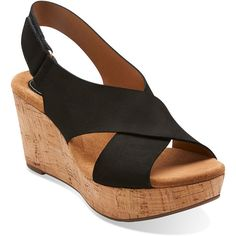 Clarks Women's Caslynn Shae Sandals (105 CAD) ❤ liked on Polyvore featuring shoes, sandals, black nubuck, platform wedge sandals, strappy high heel sandals, black slingback sandals, platform shoes and black platform wedge sandals