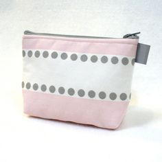 Fabric Gadget Pouch Lulu Stripe Small Cosmetic Bag Zipper Pouch Makeup Bag Cotton Zip Pouch Ballet Baby Pink White Gray Dots (12.00 USD) by Heart2Handbags