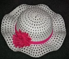 Easter Hats For Little Girls 3 Years And Up - Straw Hats For Little Girls -  Summer Hats For Girls - White Straw Hat With Hot Pink Flower by  SugarBearHair on ... fd9a78f388c3