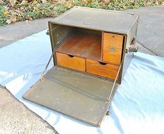 "Army field desk portable #vintage wwii #antique #green metal w/ drawers 21""x16""x1,  View more on the LINK: 	http://www.zeppy.io/product/gb/2/172163531888/"