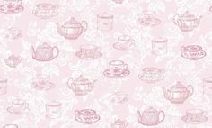 Teacups Pink (M0840) - Coloroll Wallpapers - A pretty design with vintage tea cups and saucers, and teapot motifs overlaid on a decorative white damask design. Shown in the pink colourway, other colours available. Please request a sample for true colour match.