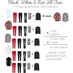 "#CapsuleWardrobe ""Black, White & Red All Over - Capsule Wardrobe Possibilities"" by anitagriffin on Polyvore"