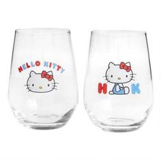 Hello Kitty Stemless Wine Glasses 2 Pack by World Market Hello Kitty Wine, Chat Hello Kitty, Hello Kitty Tattoos, World Market Store, Hello Kitty Birthday, Hello Kitty Collection, Cute Kitchen, Stemless Wine Glasses, Bead Loom Patterns