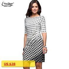 2017 Geometric Dress Tunic Womens Clothing Plus Size Spring OL Dresses For Work Fashion Black White Dress Vestidos 8622