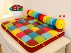 Beautiful colourful changing mat / play mat with catipiller great for babies to change nappies and getting ready for bath time Baby Puffs, Bubble Quilt, Patchwork Baby, Baby Mobile, Baby Sewing Projects, Diy Pillows, Baby Play, Designer Throw Pillows, Baby Accessories