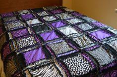 RAG QUILT Queen Size Bed Zebra Purple Black by avisiontoremember