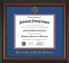 Image of University of South Alabama Diploma Frame - Rosewood - w/USA Embossed Seal & Name - Royal Blue Suede on Crimson mats