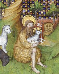 Book of Hours, Pseudo-Jacquemart de Hesdin, about St John the Baptist is shown wearing his camel-hair robe and holding the Agnus Dei/Lamb of God, his symbolic attributes. Medieval Manuscript, Medieval Art, Medieval Times, Religious Icons, Religious Art, Illuminated Letters, Illuminated Manuscript, Renaissance Era, Biblical Art