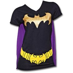 Juniors' Batman Black/ Purple T-Shirt with Cape ($26) ❤ liked on Polyvore featuring black