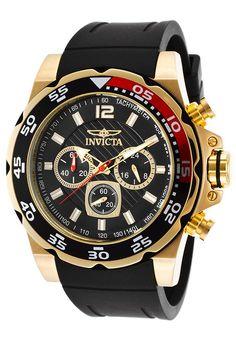 Invicta 20027 Men's Pro Diver Watch Gold-Tone Case Chronograph Black Rubber Strap