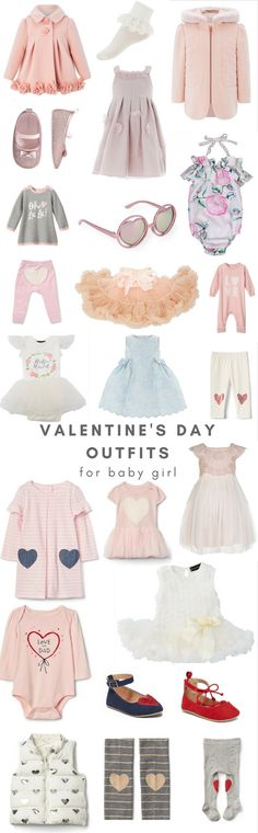 Adorable, cute Valentine's Day Outfits for baby and toddler girls. Pink Monsoon dress. Sparkly ballet flats. Olivia Rose dress. Joe Fresh Oh la la sweater.
