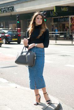 Throw a denim pencil skirt into the mix for an edgy, feminine look.