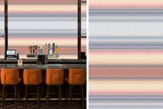 Dutch Skies inspired wallpaper surface pattern design stripes // The Style Paper Pink Wallpaper Design, Designer Wallpaper, Surface Pattern Design, Restaurant Design, Dutch, Stripes, Sky, Patterns, Inspired