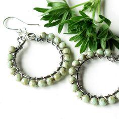 Mint green earrings  silver wire wrapped hoops by dalystudios, $18.00