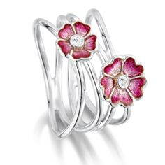 Sheila Fleet Primula Scotica - Sterling Silver Ring in Hot Pink Enamel - Image 1 of 4
