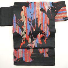 Black, silk nagoya obi/  植物柄を織りあげた独特の雰気を持った名古屋帯 / http://www.rakuten.co.jp/aiyama #Kimono #Japan #aiyamamotoya
