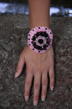 Black and pink lace bracelet Black rose bracelet by NevelynkaNasha, $59.00