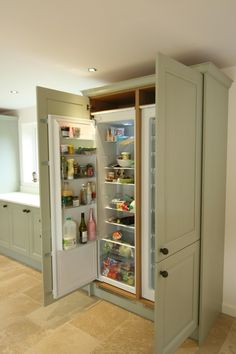 painted :: built in refrigerator panels #kitchen #cabinets #fridge ...