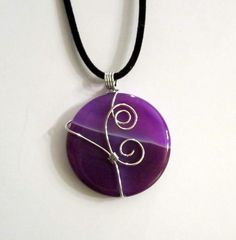 Purple Onyx Agate Wire Wrapped Pendant Necklace $24.00