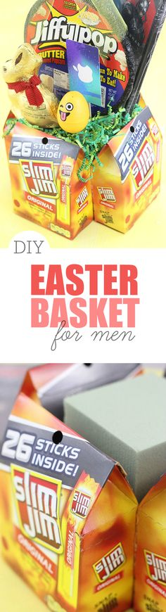 Bold easter basket ideas for men 100 walmart gift card giveaway diy easter basket for men use slim jim packages cardboard and dry foam to negle Gallery