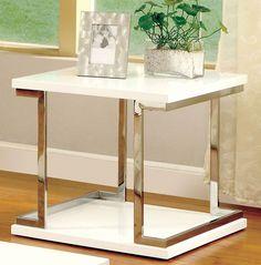 Meda CM4486E Contemporary White Chrome End Table