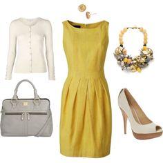 #classy yellow dress w/ivory accessories <3  Yellow Dress #2dayslook #fashion #nice #YellowDress  www.2dayslook.com Cute Fashion, Spring Fashion, Work Fashion, Fashion Outfits, Womens Fashion, Fashion Beauty, Office Attire, Work Attire, Yellow Dress