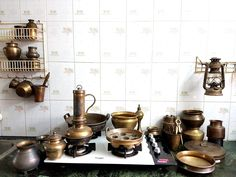 Brass Cooking vessels of yore from South India - Visit https://www.facebook.com/indiantiquest/
