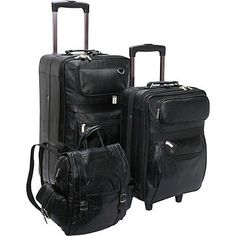 Carry-on Luggage Collections | AmeriLeather Leather 3piece Collection Black ** Check this awesome product by going to the link at the image. Note:It is Affiliate Link to Amazon. #newyork