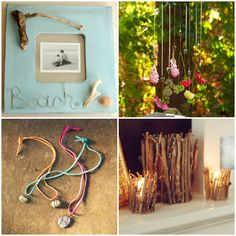 15 crafts inspired by the great outdoors:  I like the hanging flowers and stone necklaces.