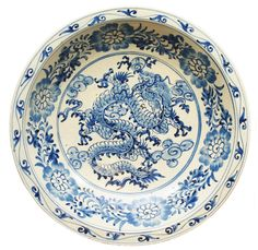 CHINESE CHING DYNASTY PORCELAIN FLORAL DRAGON BOWL