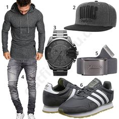 Graues Herrenoutfit mit Hoodie, Jeans und Snapback Cap #diesel #uhr #herrenuhr #adidas #jeans #cap #snapback #outfit #style #fashion #ootd #herrenmode #männermode #outfit #style #fashion #menswear #mensfashion #inspiration #menstyle #inspiration