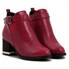 Fashion Buckle and Chunky Heel Design Women's Short Boots