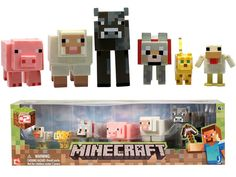 OMG! My kids would love this so much. Minecraft Core Animal 3-Inch Action Figure 6-Pack. Hunter would love any minecraft figurines