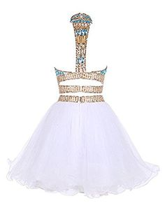 Nina Ding Two Pieces Homecoming Dresses Beaded High Neck Short Graduation Party Gowns NND020 Buy New:$79.00