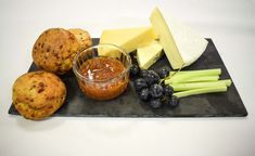 Mother's Day Dessert Sharing Platters:  Continental Cheese Board served with Grapes, Celery, Chutney and a Cheese & Chive Scone  #LondonClubFood #MothersDay