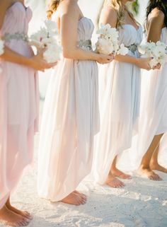 Continuing the beach wedding theme, I'd like to tell you about beach bridesmaids' dresses as we've already told you about beach bridal gowns. Traditionally, beach wedding are more relaxed than other celebrations. Beach Wedding Bridesmaids, Beach Bridesmaid Dresses, Beautiful Bridesmaid Dresses, Pastel Bridesmaids, Wedding Beach, Barefoot Wedding, Barefoot Beach, Summer Wedding, Jamaica Wedding