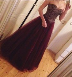 Tulle Burgundy Beaded A Line Prom Gown Evening Gowns on Luulla