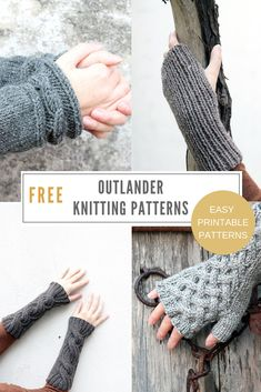 Patterns Outlander knitting patterns free - including fingerless gloves, wrist warmers and arm warmers.Outlander knitting patterns free - including fingerless gloves, wrist warmers and arm warmers. Outlander Knitting Patterns, Cable Knitting Patterns, Circular Knitting Needles, Knitting Designs, Hat Patterns, Vogue Knitting, Arm Knitting, Knitting Machine, Fingerless Gloves Knitted