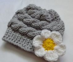Girl Hats, Photo Prop Hat, Newborn Girl Hat, Knit Newborn Hat, Newborn Knit Hats, Knit Infant Hat, Baby Hats, Photo Prop hat, Daisy Flower, $18.50