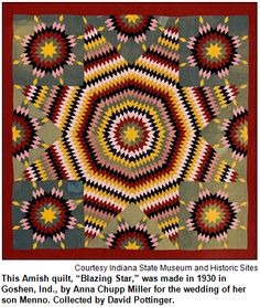 """This Amish quilt, """"Blazing Star,"""" was made in 1930 in Goshen, Ind., by Anna Chupp Miller for the wedding of her son Menno. Collected by David Pottinger. Image courtesy Indiana State Museum and Historic Sites."""